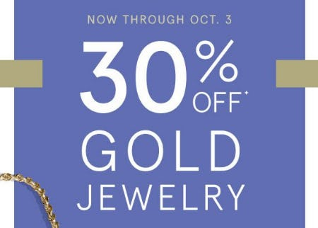 30% Off Gold Jewelry from Kay Jewelers