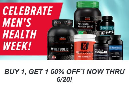 Buy 1, Get 1 50% Off Favorite Products For Men from GNC