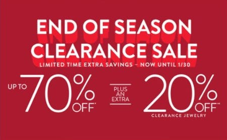 End of Season Clearance Sale: Up to 70% Off