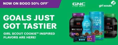 BOGO 50% Off Best-Selling Proteins in New Girl Scout Cookie Inspired Flavors from GNC