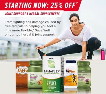 25% Off Joint Support & Herbal Supplements from GNC