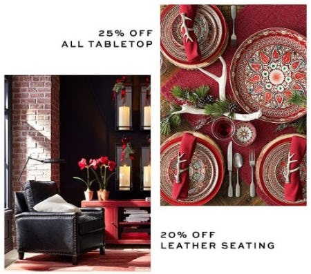 25% Off All Tabletop & 20% Off Leather Seating from Pottery Barn