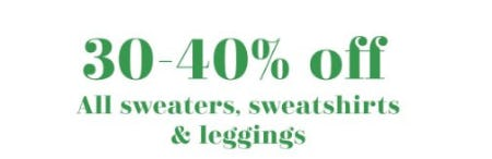 30-40% Off All Sweaters, Sweatshirts & Leggings from Aerie