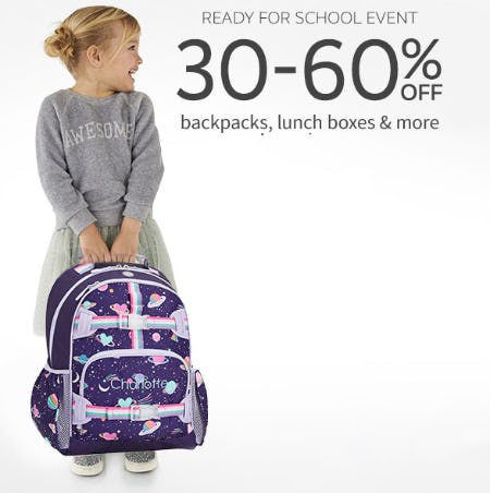 30-60% Off Backpacks, Lunch Boxes & More from Pottery Barn Kids