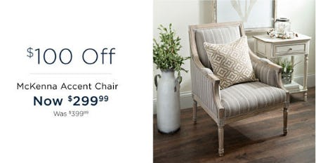 $100 Off McKenna Accent Chair from Kirkland's