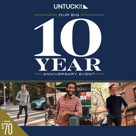 Untuckit - 10 Year Anniversary Sale from UNTUCKit
