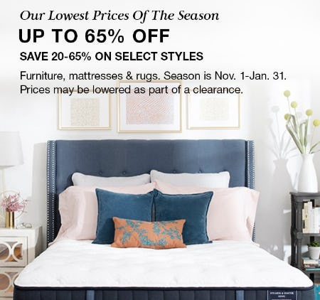 Furniture, Mattresses & Rugs up to 65% Off