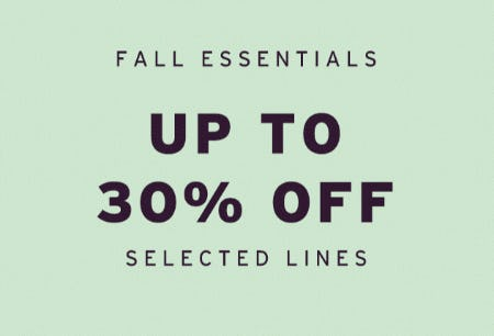 Fall Essentials, Up to 30% Off Selected Lines from Topshop