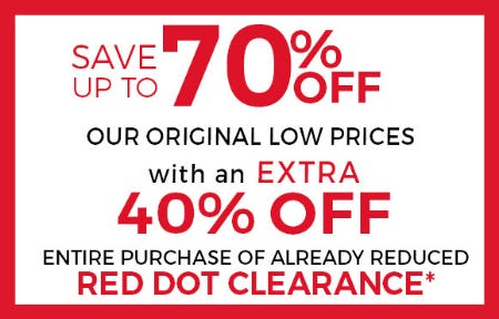 Red Dot Clearance from Stein Mart