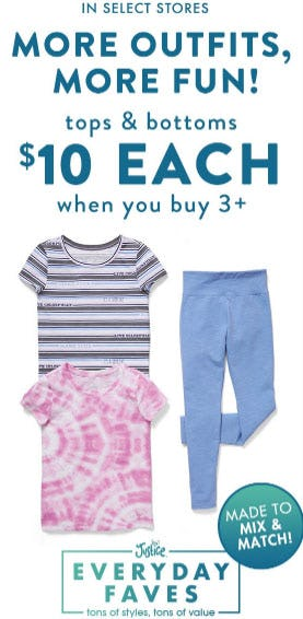 $10 Tops & Bottoms When You Buy 3 or More from Justice