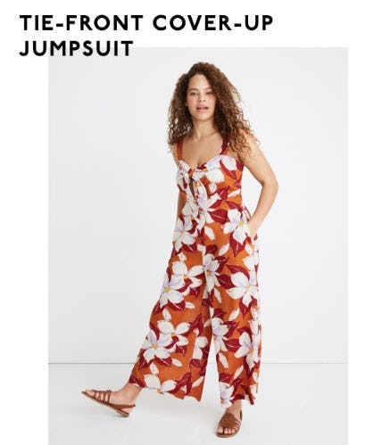 Tie-Front Cover-Up Jumpsuit