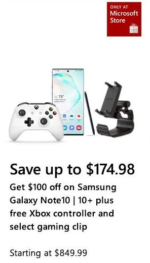 Up to $174.98 Off Samsung Galaxy Note 10 or 10+ plus More