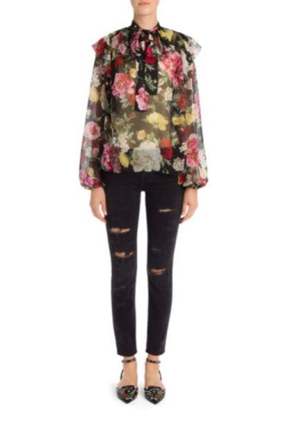 Dolce & Gabbana Silk Chiffon Floral Print Blouse from Saks Fifth Avenue