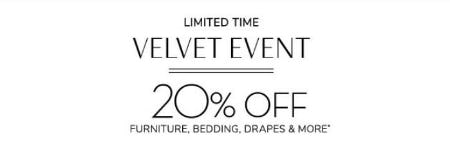 20% Off Velvet Event from Pottery Barn