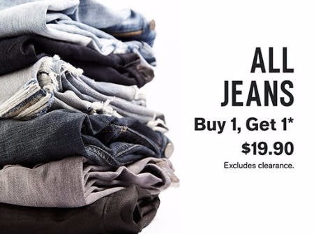 All Jeans Buy 1, Get 1 for $19.90