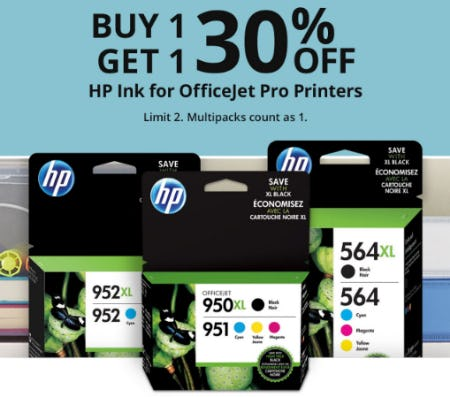 B1G1 30% Off HP Ink for Officejet Pro Printers from Office Depot