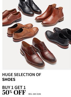 Buy 1, Get 1 50% Off Huge Selection of Shoes from Jos. A. Bank
