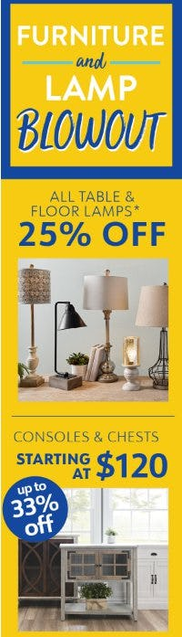 Furniture and Lamp Blowout from Kirkland's