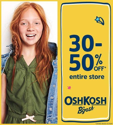 30-50% Off* Entire Store from Oshkosh B'gosh