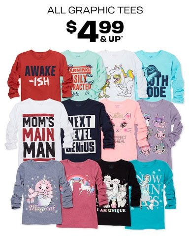 All Graphic Tees $4.99 and Up