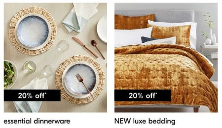 20% Off Essential Dinnerware & New Luxe Bedding from West Elm