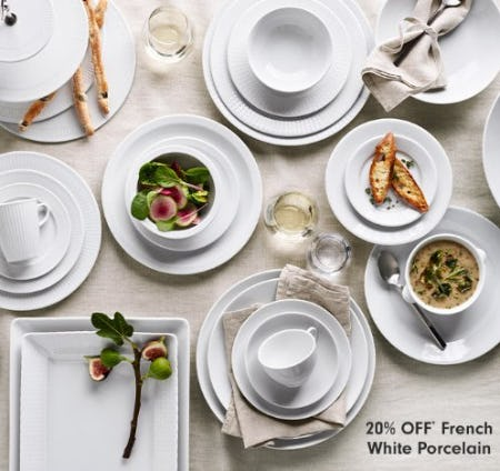 20% Off French White Porcelain from Williams-Sonoma