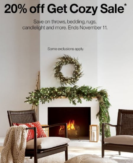 20% Off Get Cozy Sale from Crate & Barrel