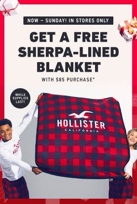 Free Sherpa-Lined Blanket With $85 Purchase
