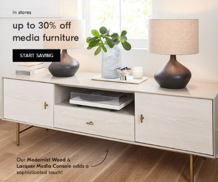 Up to 30% Off Media Furniture from West Elm