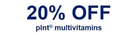 20% Off plnt Multivitamins