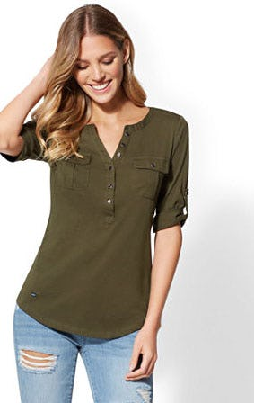 Button-Accent Henley Top