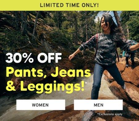30% Off Pants, Jeans & Leggings from Eddie Bauer
