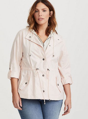 Pink Twill & Jersey Anorak Jacket from Torrid