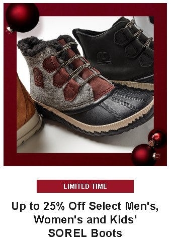 Up to 25% Off Select Men's, Women's and Kids' SOREL Boots from Dick's Sporting Goods