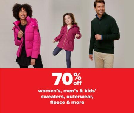 70% Off Women's, Men's & Kids' Sweaters, Outerwear, Fleece & More