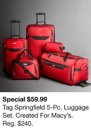 $59.99 Tag Springfield 5-Pc. Luggage from macy's