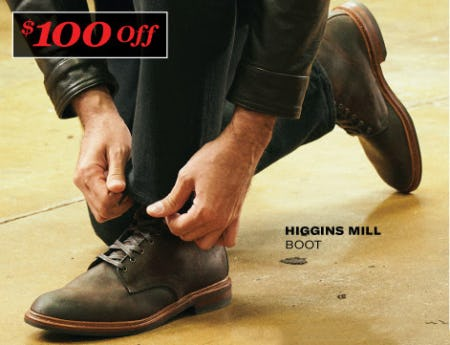 $100 Off Higgins Mill Boot from Allen Edmonds