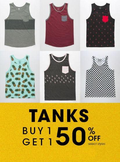 BOGO 50% Off Tanks from Tilly's