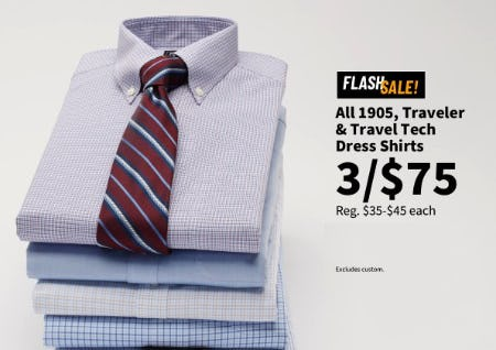 All 1905, Traveler & Travel Tech Dress Shirts 3 for $75 from Jos. A. Bank