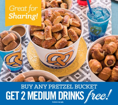 2 FREE Medium Drinks When You Buy A Pretzel Bucket