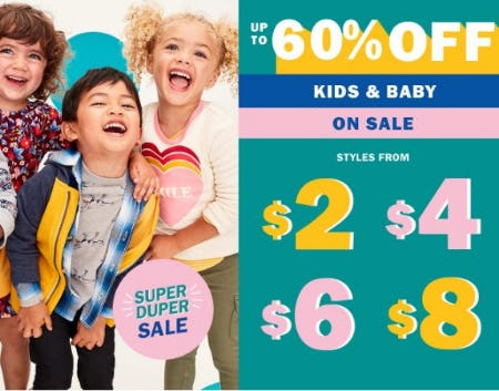 Up to 60% Off All Kids & Baby from Old Navy