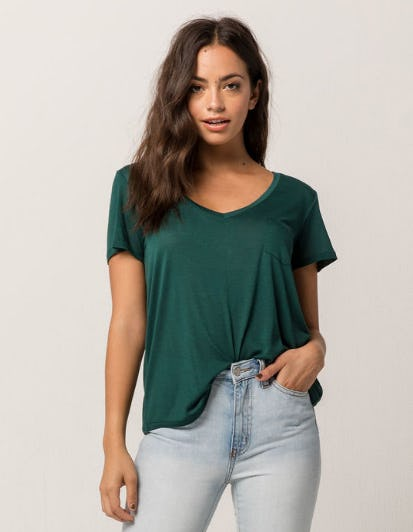 Full Tilt Essential V-Neck Forest Womens Pocket Tee from Tilly's