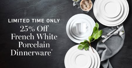 25% Off French White Porcelain Dinnerware from Williams-Sonoma