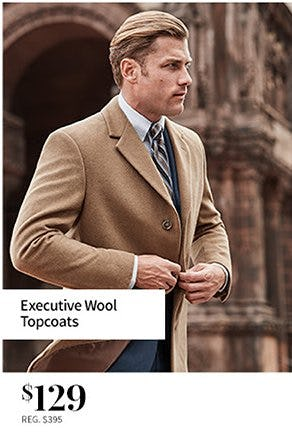Executive Wool Topcoats $129 from Jos. A. Bank