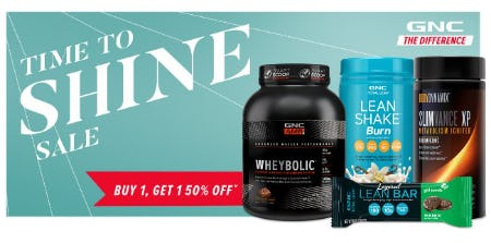 Time to Shine Sale: Buy 1, Get 1 50% Off from GNC