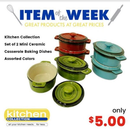 Kitchen Collection Set of 2 Mini Ceramic Casserole Baking Dishes Only $5.00