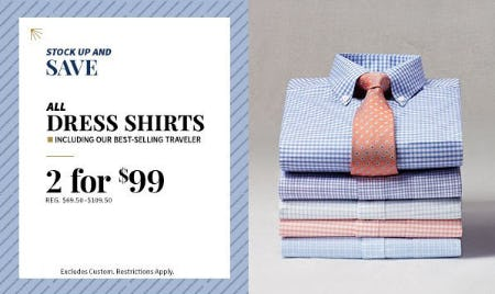 All Dress Shirts 2 for $99