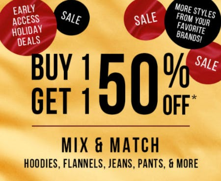 Buy 1, Get 1 50% Off Sale from Tillys