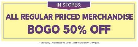 BOGO 50% Off All Regular Priced Merchandise from Bon Worth