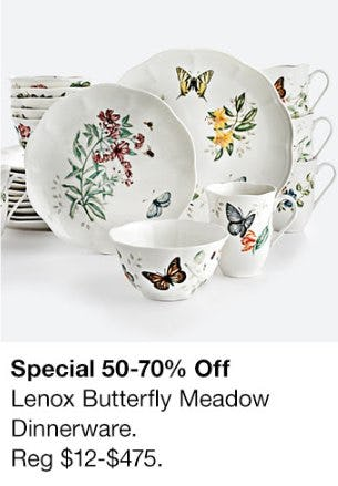 50-70% Off Lenox Butterfly Meadow Dinnerware